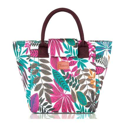 tropical print insulated lunch tote