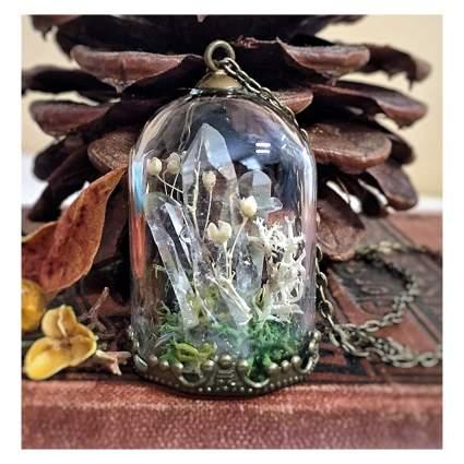 Crystal terrarium necklace