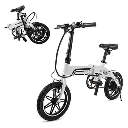 white folding e bike