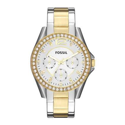 fossil gold and stainless women's watch
