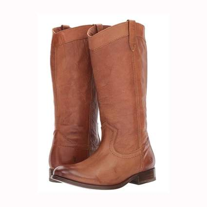 brown leather flat boots