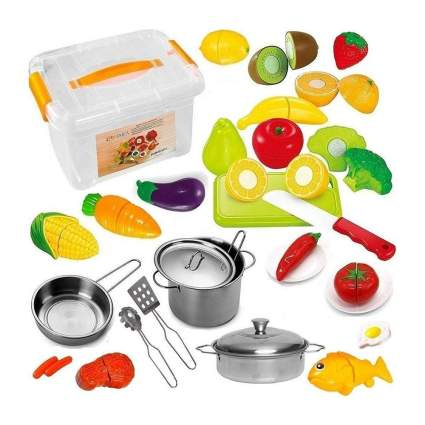Play food with kid-sized pots and pans