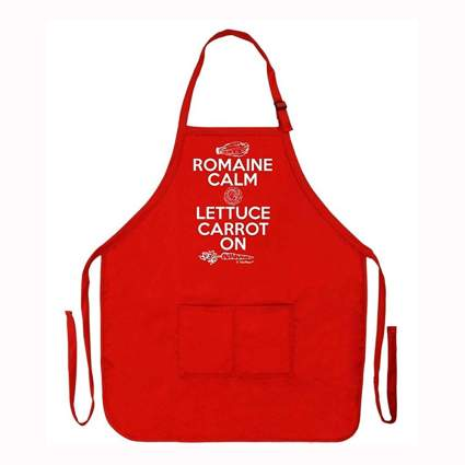 red funny kitchen apron