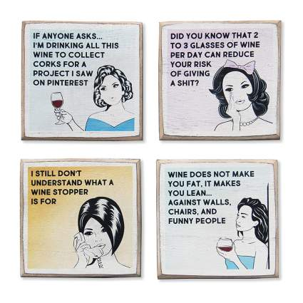 funny wine coasters