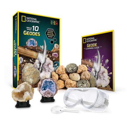 National Geographic Break Open 10 Premium Geodes – Includes Goggles, Detailed Learning Guide & 2 Display Stands - Great Stem Science Gift for...