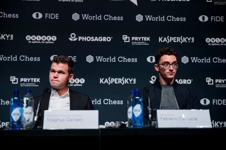 Magnus Carlsen and Fabiano Cuarana.