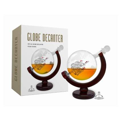 etched glass globe whiskey decanter