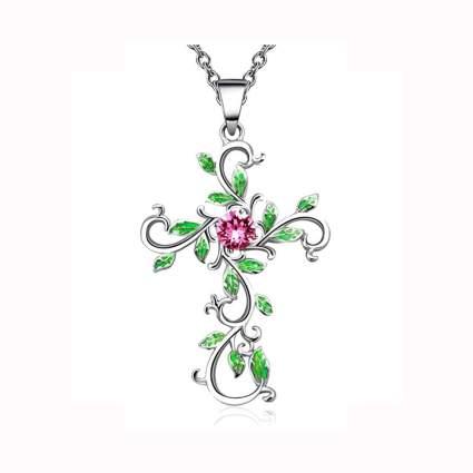 Floral cross pendant necklace