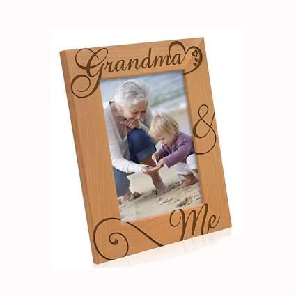 grandma and me etched wood photo frame