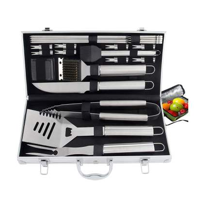 grilling tools in a case