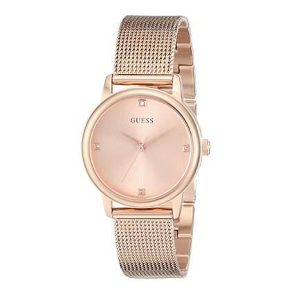 guess goldtone mesh bracelet watch