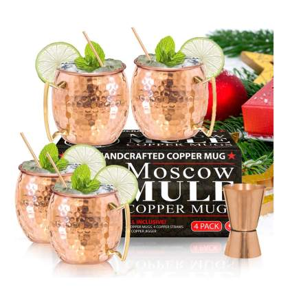 hammered copper moscow mule mug set