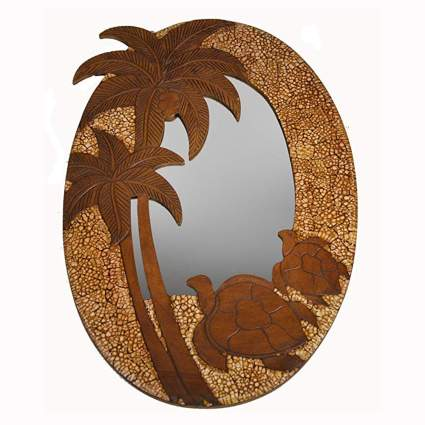 handcarved wood oval turtle mirror