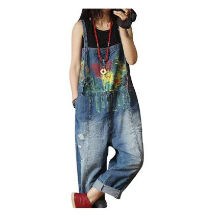 hand painted loose fit overalls