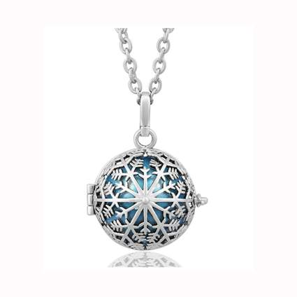 snow flower musical chime ball necklace