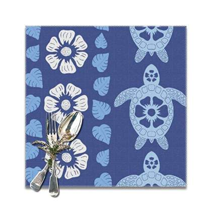 blue Hawaiian flowers and sea turtles print placemats