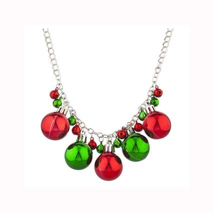 red and green jingle bell necklace
