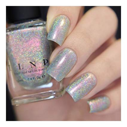 Pink and gold holo nail polish