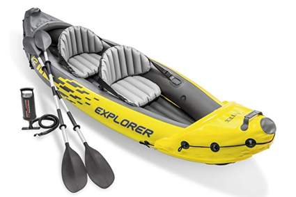 yellow two person inflatable kayak
