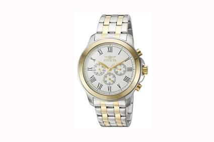 two tone men's quartz chronograph watch