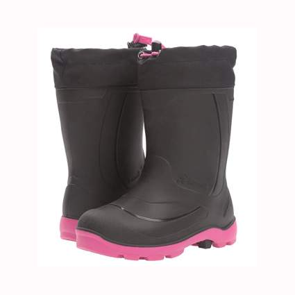 black and pink insulated girls snow boots