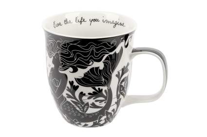 Black and white mermaid coffee cup