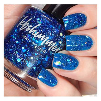 Jelly blue glitter nail polish