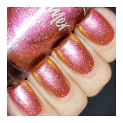 Pink and orange nail polish