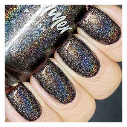 Dark brown holo nail polish