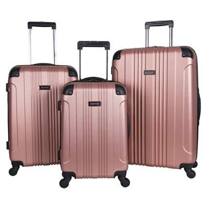 rose gold spinner luggage set