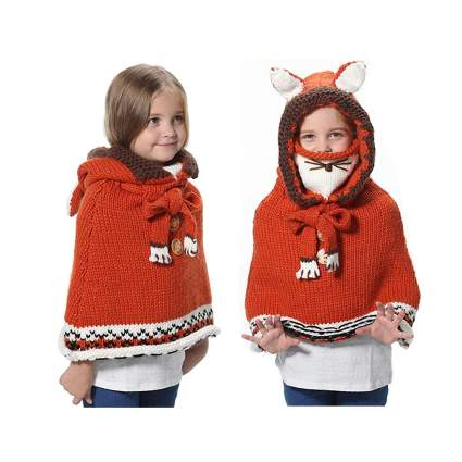 kids knitted fox hat and poncho
