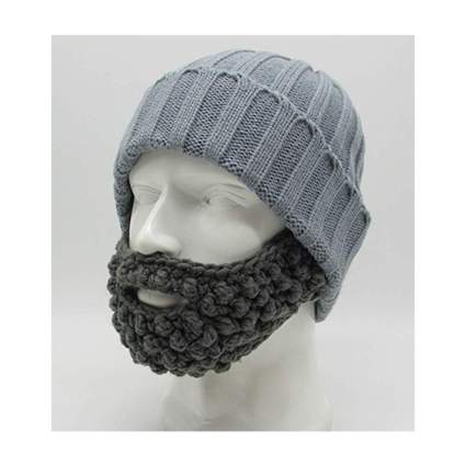 black and gray knit beard hat