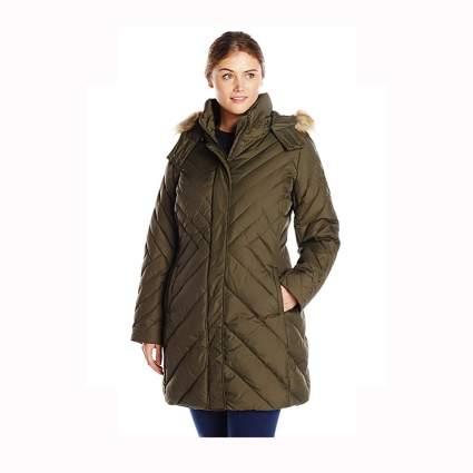 olive plus size mid-length hooded coat