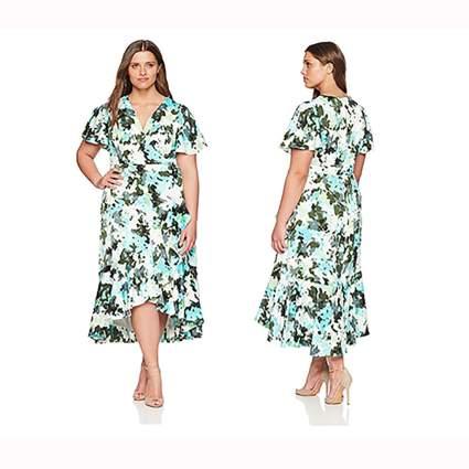 floral faux wrap plus size dress