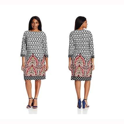 multi color border print shift dress