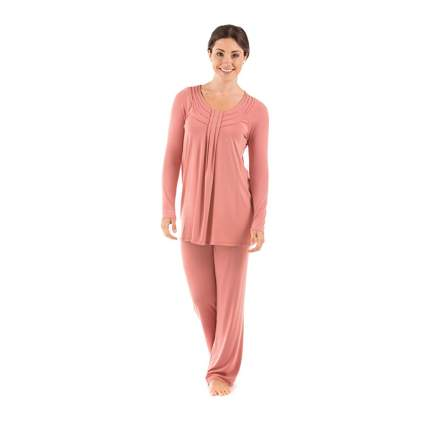 peach long sleeve bamboo viscose pajamas