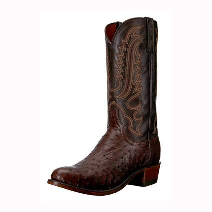 brown ostrich and leather men's western boots