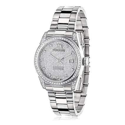 diamond and white gold tone watch