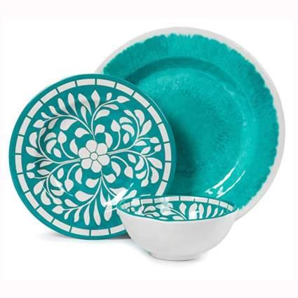 turquoise Melamine Dinnerware set