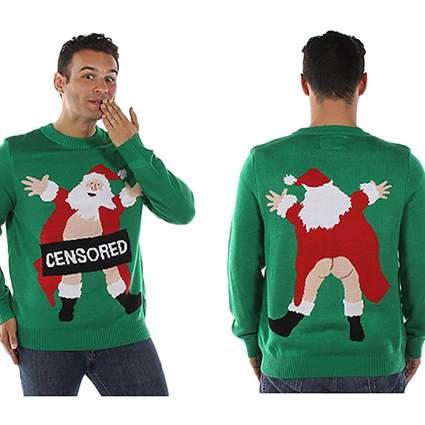 censored santa ugly christmas sweater