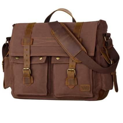 Men's Messenger Bag Vintage Canvas Leather Satchel Laptop Bags