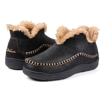 black micro suede moccasin slippers