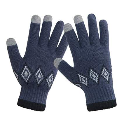 men's winter touchscreen knit gloves