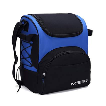 blue and black large insulated lunch bag