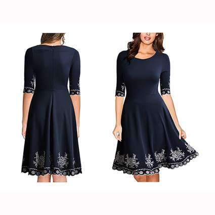 navy embroidered scoop neck swing dress