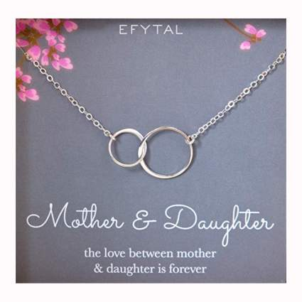 silver mother daughter infinity circle necklace
