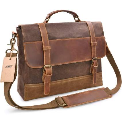 Newhey Leather & Canvas Messenger Bag