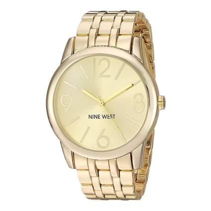 nine west gold tone watch