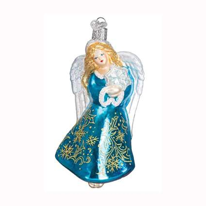 blue angel blown glass ornament