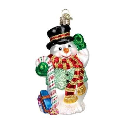hand blown glass snowman ornament